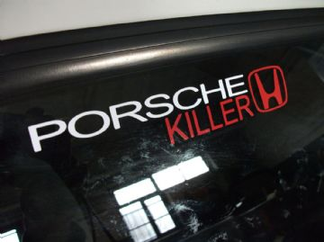 'Porsche Killer' honda sticker / Decal - for all motor or Turbo DOHC vtec b16, b18, k20, H22
